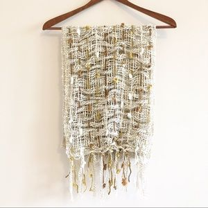 2 CHIC Cream Knit Scarf with Yellow Brown Poms
